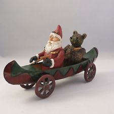 Dept 56 Rustic Christmas Large Cast Iron Santa & Bear in Canoe / Boat New In Box