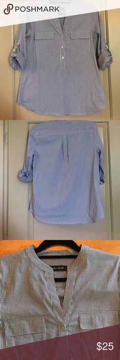 Ivanka Trump Gingham Top- Size Small Ivanka Trump Blue Gingham Top- Size Small- Three quarter sleeve! Excellent preowned condition! See photos for more details! Ivanka Trump Tops