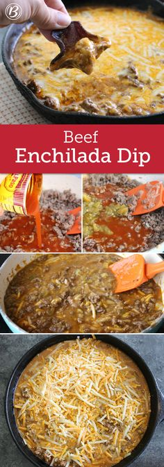 A few simple ingredients are all you need to whip up this hearty beef dip! Serve with chips or veggies for a game day dip everyone will love.
