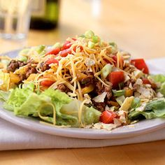 Taco salad- Put all of your favorite taco toppings on a bed of lettuce. Makes a great lunch or dinner idea!