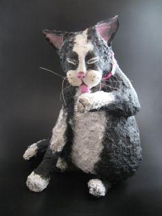 Papier mache cat by Cathy Norosky www.cathynorosky.com