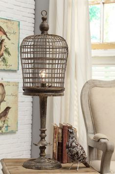 Decoration Vintage Birdcage Table Lamp Iron Material Bark Brown Finish Bulb Light Decorative Accent Modern Home Decor Lighting Fixtures Ideas 27 Mesmerizing Birdcage Lamp