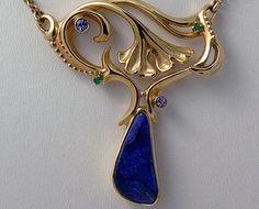 14k yellow gold necklace with Boulder Opal, Tanzanite and Tsavorite Garnet