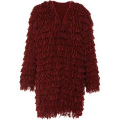 Isabel Marant Summer Fur Abella Coat In Burnt Red ($1,013) ❤ liked on Polyvore featuring outerwear, coats, isabel marant, fringe coat, fur coat, collarless coat and isabel marant coat