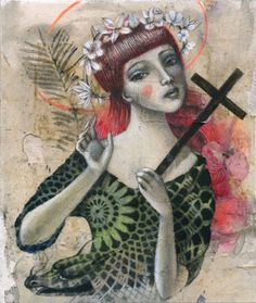 Glenda Sburelin -SANTA MARGHERITA D'ANTIOCHIA- acrilico, acquerello, vernice spray e grafite su buste del tè e cartoncino contact us: parione9@gmail.com