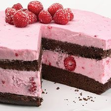 chocolate raspberry mousse cake:  This rich chocolate cake is filled with creamy raspberry mousse — it's heaven on a plate!