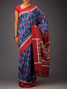 Blue-Maroon Ikat Satin Silk Saree