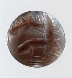 Lentoid Agate Seal with a griffin, ca. 1450–1400 b.c.; Late Minoan II Minoan