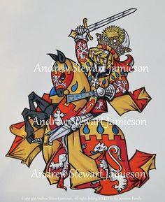 British Artist and Designer Andrew Stewart Jamieson's, 'Grand Armorial Vellum Library Paintings' (coats of arms, heraldic art, heraldry, heraldic artist, medieval illumination, knights, chivalry)