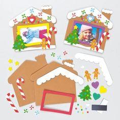 Moosgummi Bilderrahmen Bastelsets Lebkuchenhaus mit Magnet für Kinder zum Basteln und Verzieren (5 Stück)