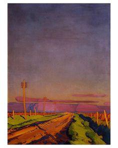 Prairie tranquility as depicted by Winnipeg landscape painter #CharlesComfort (Prairie Road 1925). (via @artcaninstitute)