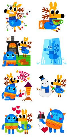 Deer & Yeti - Social messenger app stickers on Behance Christmas Illustration, Character Illustration, Graphic Illustration, Baby Cartoon, Cartoon Kids, Game Character, Character Design, Deer Design, Mascot Design