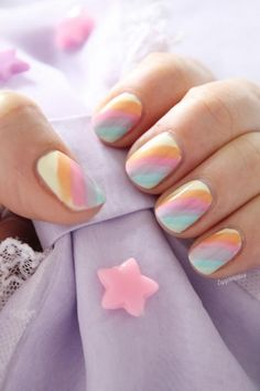 Spring Nails Striped Nail Designs, Striped Nails, Nail Designs Spring, Nail Art Designs, Blue Nail, Gorgeous Nails, Love Nails, Pretty Nails, Spring Nails