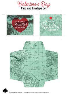 freebies Printable Planner, Free Printables, Envelope, Road Trip, Bloom, Valentines, Let It Be, Cards, Valentine's Day Diy