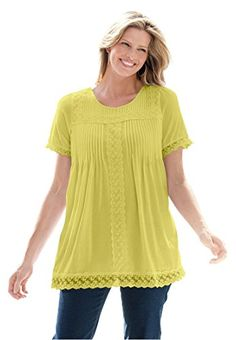 09978ce87b4 Womens Plus Size LaceTrimmed Cotton Tunic Fresh Mint3X    You can find more  details by