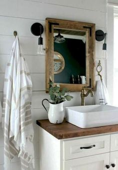 Great resource for anyone planning a bathroom remodel! Farmhouse bathroom design ideas for your remodel - vanities, lighting, mirrors and more! Bad Inspiration, Bathroom Inspiration, Bathroom Renos, Small Bathroom, Bathroom Ideas, Bathroom Vanities, Bathroom Vintage, Bathroom Cabinets, Bathroom Remodeling