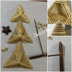 Il filo di mais di Chiara: Albero di Natale con tutorial Tutorial, Art N Craft, Pine Needles, Paper Jewelry, Quilling, Paper Art, Diy And Crafts, Triangle, Weaving