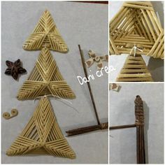 Oggi voglio farvi vedere quanto è facile creare un albero di Natale con la carta....       Iniziamo preparando le cannucce  , le coloriamo ...