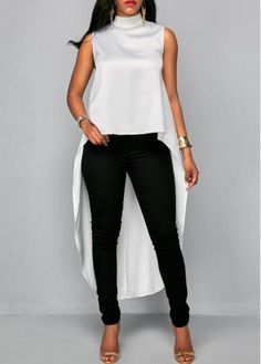 Stylish Tops For Girls, Trendy Tops, Trendy Fashion Tops, Trendy Tops For Women Classy Outfits, Casual Outfits, Cute Outfits, Traje Casual, Trendy Tops For Women, White Sleeveless Blouse, Moda Chic, African Print Fashion, Discount Designer Clothes