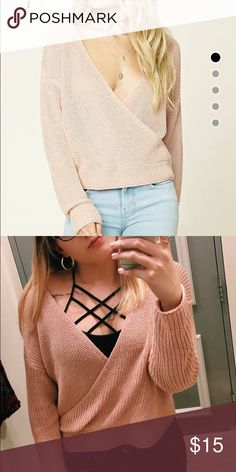 Contemporary Surplice Sweater Top Worn twice Forever 21 Tops Tees - Long Sleeve