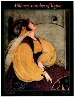Poster Print of Vintage Vogue Magazine Cover- February 15, 1916 - George Plank illustration via Etsy