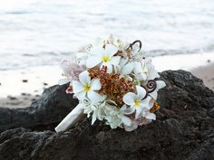 This is my perfect bouquet-ties in the Hawaii engagement and has the right colors!