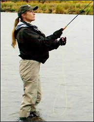 """Jane Seymour, says fly fishing is a passion of hers. """"We go skiing, we fly fish and we play golf. I love the mountains, I love the ocean. I'll go anywhere that has  water ..... I love fly fishing in Alaska. There's a place called Kulik Lodge. It's literally in the wild, with bears and  salmon. I took my kids fishing for trout there."""" - Jane Seymour"""