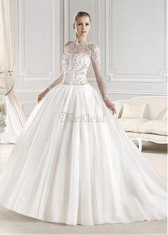 Bodenlang Natürliche Taille Lange Ärmel Brautkleid mit Jacke - Bild 1