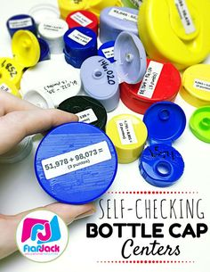 Recycle bottle caps for a fun, self-checking math center!
