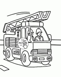 Fire Truck And Fireman Coloring Page For Kids Transportation Pages Printables Free
