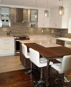 Home Decor Kitchen, New Kitchen, Kitchen Design, Home Design Decor, House Design, High Gloss Kitchen, American Kitchen, Interior Design Living Room, Cool Kitchens