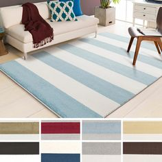 Meticulously Woven Hart Casual Striped Area Rug x - Overstock Shopping - Great Deals on - Rugs Home Design, Crate And Barrel, Outdoor Rugs, Indoor Outdoor, Wide Stripes, White Furniture, Online Home Decor Stores, Online Shopping, Home Look