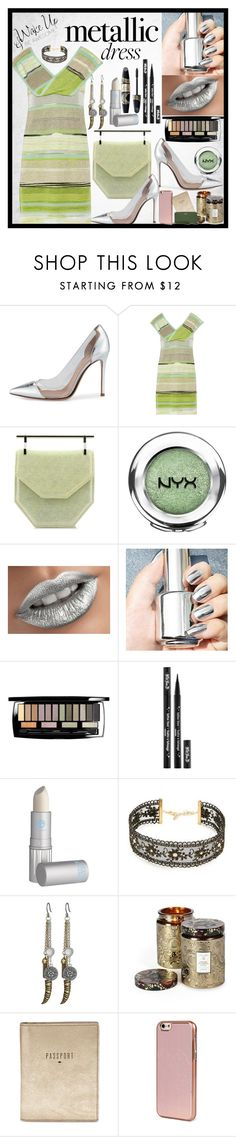 """""""Metallic Dress"""" by fantasiegirl ❤ liked on Polyvore featuring Gianvito Rossi, Missoni, M2Malletier, NYX, Lancôme, Kat Von D, Max Factor, Lipstick Queen, Chan Luu and Lucky Brand"""