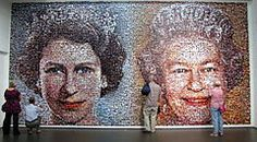 A mosaic picture of Elizabeth II in Towner Gallery in Eastbourne. The picture is produced by Helen Marshall for the diamond jubilee using more than 5,000 photos sent by the BBC
