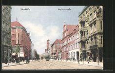 Alte Ansichtskarte: AK Berlin-Neukölln, Berliner Straße mit Straßenbahn