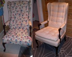 Before & After upholstered chair I need to master the art of reupholstering!!