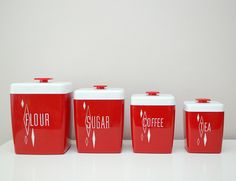 red canisters for my red and aqua kitchen