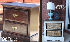 Ok.. So I love this.. Great way to make over an ugly, outdated night stand!