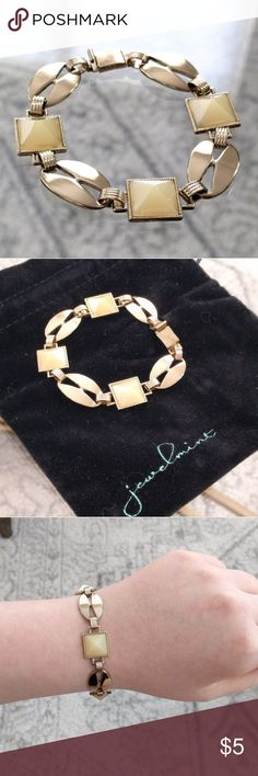 """Jewelmint Corsica bracelet Gently used in great condition!  Goldtone with ivory pyramid cabochons... Super chic!  About 7.5"""" long.  Price is firm because it's so low.  Bundle to save 10%! Jewelmint Jewelry Bracelets"""