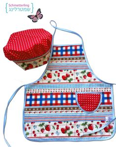 strawberry red children  Apron and little chef set for Kids:  apron,  hat , mittens, cookie cutters, rolling pin and a recipe.