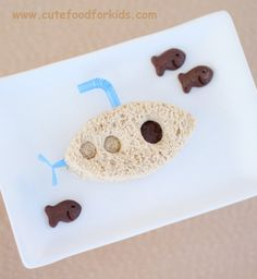 Pin for Later: Play With Your Food! 60 Fun Ways to Feed Your Kids A Sandwich Sub Turning a standard sandwich into a submarine makes lunchtime fun for your little underwater explorer.  Source: Cute Food For Kids