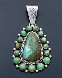 Mike Platero (Navajo) - Large Pilot Mountain Turquoise & Sterling Silver Teardrop Cluster Pendant #40327 $450.00
