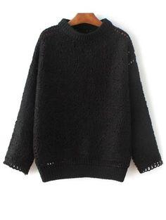 Ganchillo suéter de cuello alto
