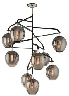 Troy Lighting F4298 Odyssey Foyer Pendants 9 Light Entry Pendant in Carbide Black and Polished Nickel