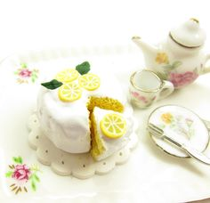 Lemon Chiffon Cake Dollhouse Miniature Polymer Clay Dessert