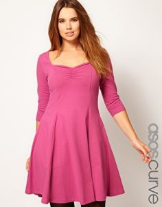 ASOS CURVE Exclusive Skater Dress with 3/4 Sleeve