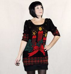 UGLY CHRISTMAS SWEATER DRESS - Red Black and Gold Reconstructed Sweater