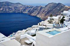 """Kalimera""! ...Deep Blue... (photo: marcus eubanks @ flickr)   #Santorini #Greece #VisitGreece #Greece #SeaView"