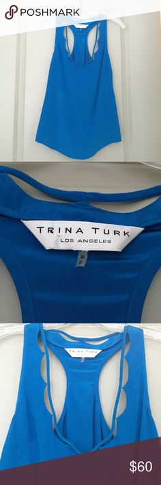 Trina Turk silk racer back blouse Cobalt blue silk racer back blouse! Perfect with white jeans and wedges for the summer. Size P (xs). Great condition. Trina Turk Tops Blouses