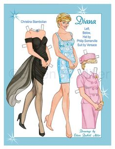 Princess Diana Paper Doll  ~`~ Drawn by Eileen R Miller